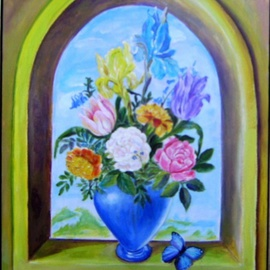 Larsen Lena: 'Flowers with a blue butterfly', 2008 Acrylic Painting, Still Life. Artist Description:  Acrylic painting on canvas stretched on wood,  framed.  ...
