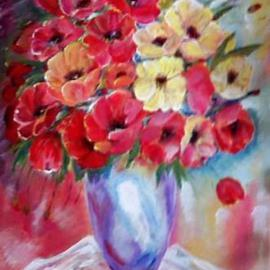 Larsen Lena: 'Poppies', 2008 Acrylic Painting, Still Life. Artist Description:  Acrylic painting on canvas stretched on wood,  framed. ...