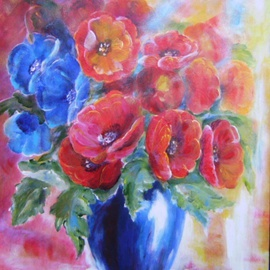 Larsen Lena: 'Poppies in a Blue Bottle', 2008 Acrylic Painting, Still Life. Artist Description:  Acrylic painting on canvas stretched on wood,  framed. ...