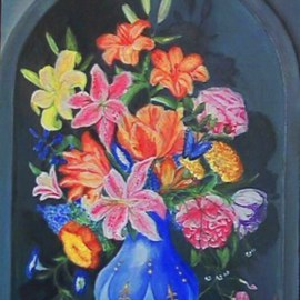 Larsen Lena: 'Summer bouquet in a Blue Bottle', 2008 Acrylic Painting, Still Life. Artist Description:  Original Acrylic painting on canvas stretched on wood,  framed.  This is new painting, not a print, but 100% hand painted. ...