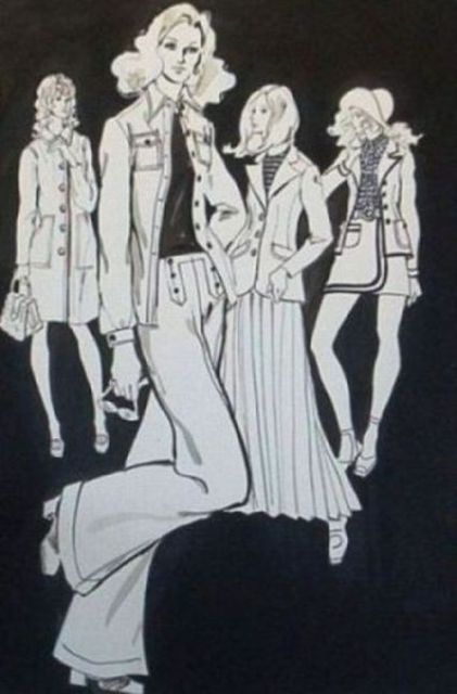 Lenore Schenk  'Black And White Fashions', created in 1978, Original Drawing Other.