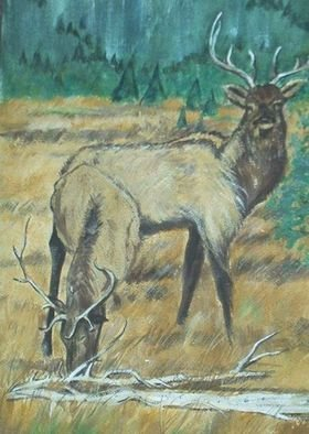 Animals Acrylic Painting by Lenore Schenk Title: Elks, created in 1977