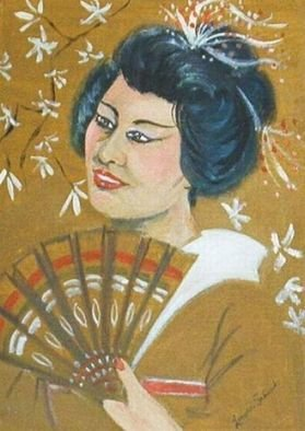Artist: Lenore Schenk - Title: Oriental  young lady - Medium: Acrylic Painting - Year: 1993