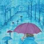 Blue Rainy Day By Lenore Schenk