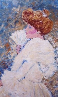 Lenore Schenk: 'the debutante', 1993 Acrylic Painting, Vintage. Artist Description:  a young lady from the 1900snot a portrait. just painting of a girl from another Era. large wooden fram, ready to hang.        ...