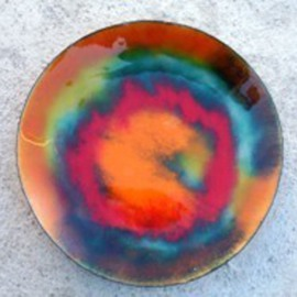 Colour Fusion glass on copper 10 O  By Leo Evans