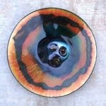 Colour Fusion glass on copper 14b By Leo Evans