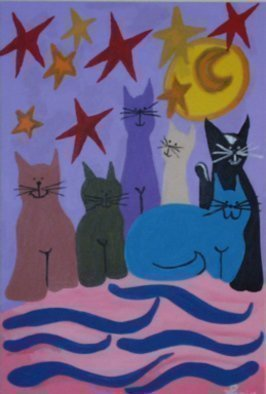 Leo Evans: 'MELLOW FELLOWS', 1998 Acrylic Painting, Cats.