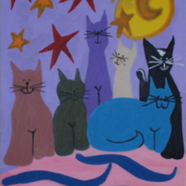 Leo Evans Artwork MELLOW FELLOWS, 1998 Acrylic Painting, Cats