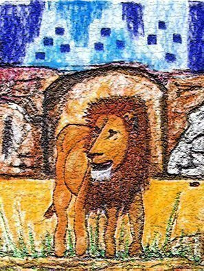 Leo Evans: 'THE LION 1', 2007 Mixed Media, Wildlife.  THE LION_ 1 - ONE OF GOD CREATUES I'VE BEEN WANTING TO DO FOR AWHILE. - LEO EVANS - LEOEVANS. COM - ALL RIGHTS RESERVED - 2007 ...