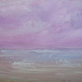 Leona Dadian Akers Artwork Sonoma Beach Storm Clouds, 2012 Acrylic Painting, Landscape