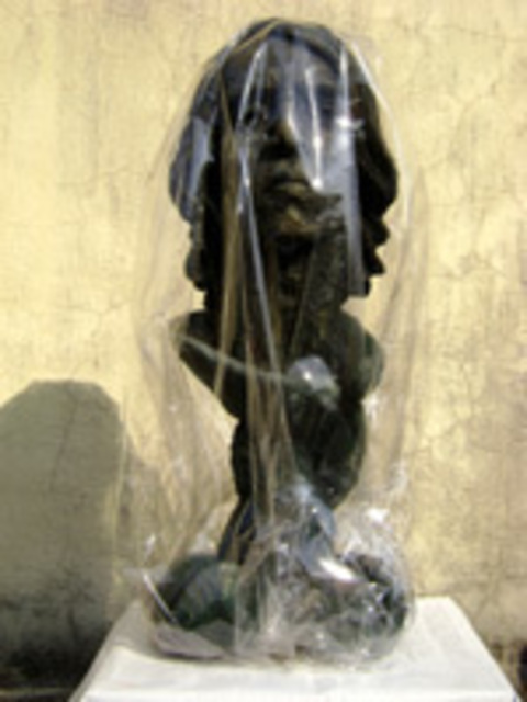 Leonard Bey  'Covered Life', created in 2007, Original Sculpture Stone.