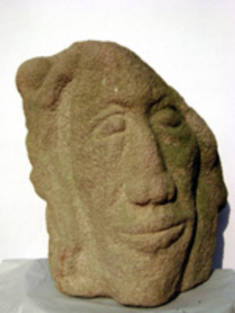 Leonard Bey  'Wounded Stone Family', created in 2007, Original Sculpture Stone.
