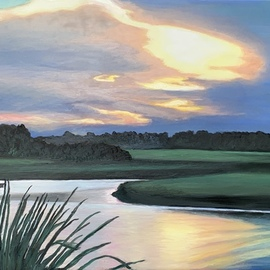 Patricia Leone: 'Into the Brighter Light', 2020 Oil Painting, Landscape. Artist Description: Oil on canvas.  A brighter and bluer version of the purple aEURoeInto the LightaEUR of a sunrise along the intercostal waterway in Thunderbolt, Georgia. ...