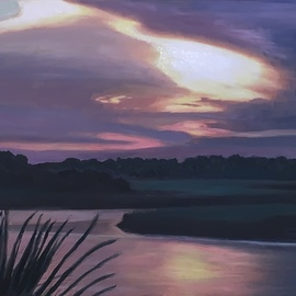 Patricia Leone: 'into the light', 2020 Oil Painting, Landscape. Artist Description: Sunrise on Wilmington River along the intercostal waterway in the fishing village of Thunderbolt, Georgia.  Original with white floater frame for sale. ...