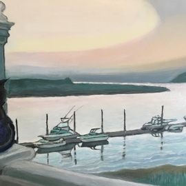 Patricia Leone: 'nicky on balcony', 2018 Oil Painting, Landscape. Artist Description: My cat, Nicky, enjoying the scene of Wilmington River along the intercostal waterway in the fishing village of Thunderbolt, Georgia...