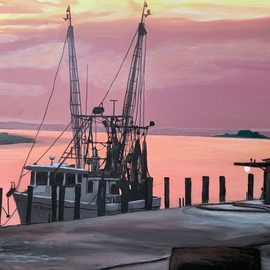 Patricia Leone: 'shrimp boat in thunderbolt', 2020 Oil Painting, Landscape. Artist Description: Shrimp boat on Wilmington River along the intercostal waterway at sunrise in the fishing village of Thunderbolt, Georgia...