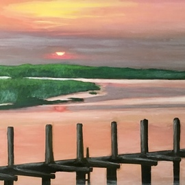 Patricia Leone: 'summer sunrise in thunderbolt', 2018 Oil Painting, Landscape. Artist Description: Sunrise on Wilmington River along the intercostal waterway in the fishing village of Thunderbolt, Georgia...