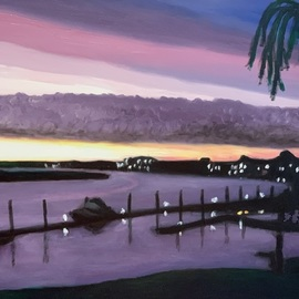 Patricia Leone: 'winter sunrise in thunderbolt', 2019 Oil Painting, Landscape. Artist Description: Sunrise on Wilmington River along the intercostal waterway at sunrise in the fishing village of Thunderbolt, Georgia. ...
