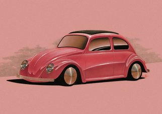 Michael Leonhard: 'vw cal look bug', 1999 Other Drawing, Automotive. Artist Description: Original Artwork - VW Cal Look Bug - by Michael Leonhard - Michael Leonhards designs were featured in Hot VWs Magazine and many others.  - Size 42 x 29,7 cm 16,5 x 11,7 inch - Drawing in Airbrush Technique Mixed Media on heavy paper. ...