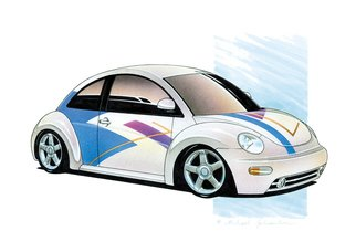 Michael Leonhard: 'vw new beetle custom', 1999 Other Drawing, Automotive. Artist Description: Original Artwork - VW New Beetle Customby Michael Leonhard - As featured in Hot VWs Magazine issue Februar 2003.  - Size 42 x 29,7 cm 16,5 x 11,7 inch - Drawing in Airbrush Technique Mixed Media on heavy paper. ...