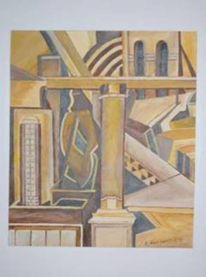 Leonidas Koutsantonis: 'Egyptian Palace', 2004 Acrylic Painting, Abstract.