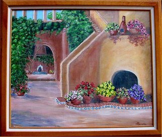 Leonore Marie Artwork Courtyard, 2015 Acrylic Painting, Representational