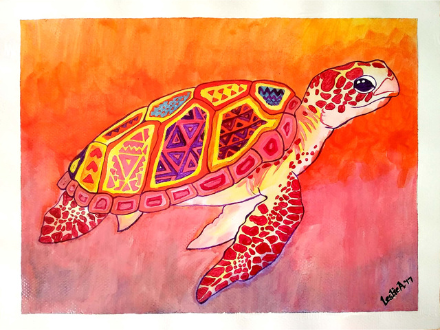 Leslie Abraham  'Beautiful Turtle', created in 2017, Original Watercolor.