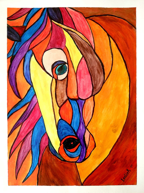 Leslie Abraham  'Lovely Horse', created in 2017, Original Watercolor.