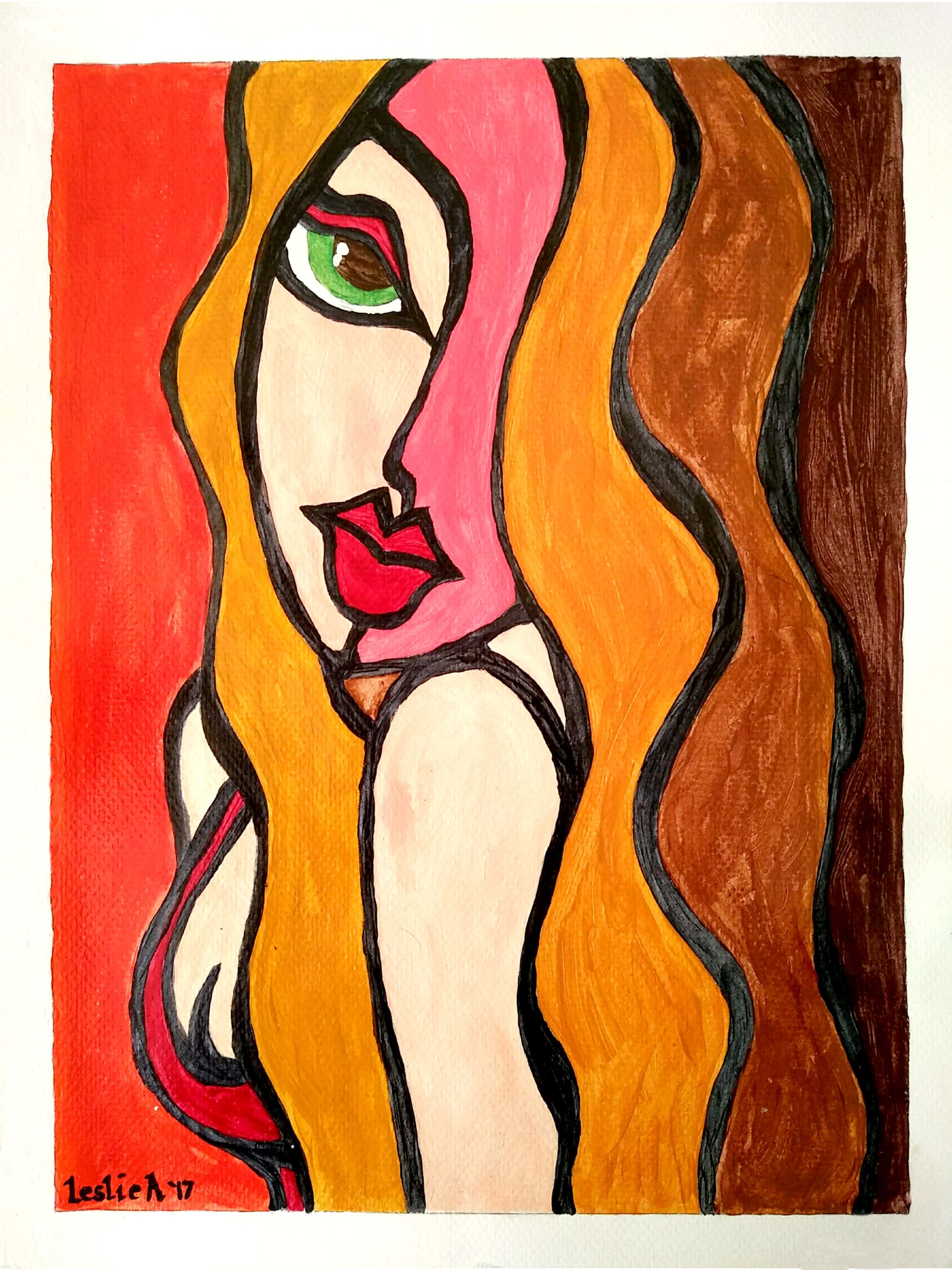 Leslie Abraham: 'beautiful woman', 2017 Acrylic Painting, Abstract. Artist Description: Beautiful Woman, Fauve Art, Art Print, Acrylic on Paper...