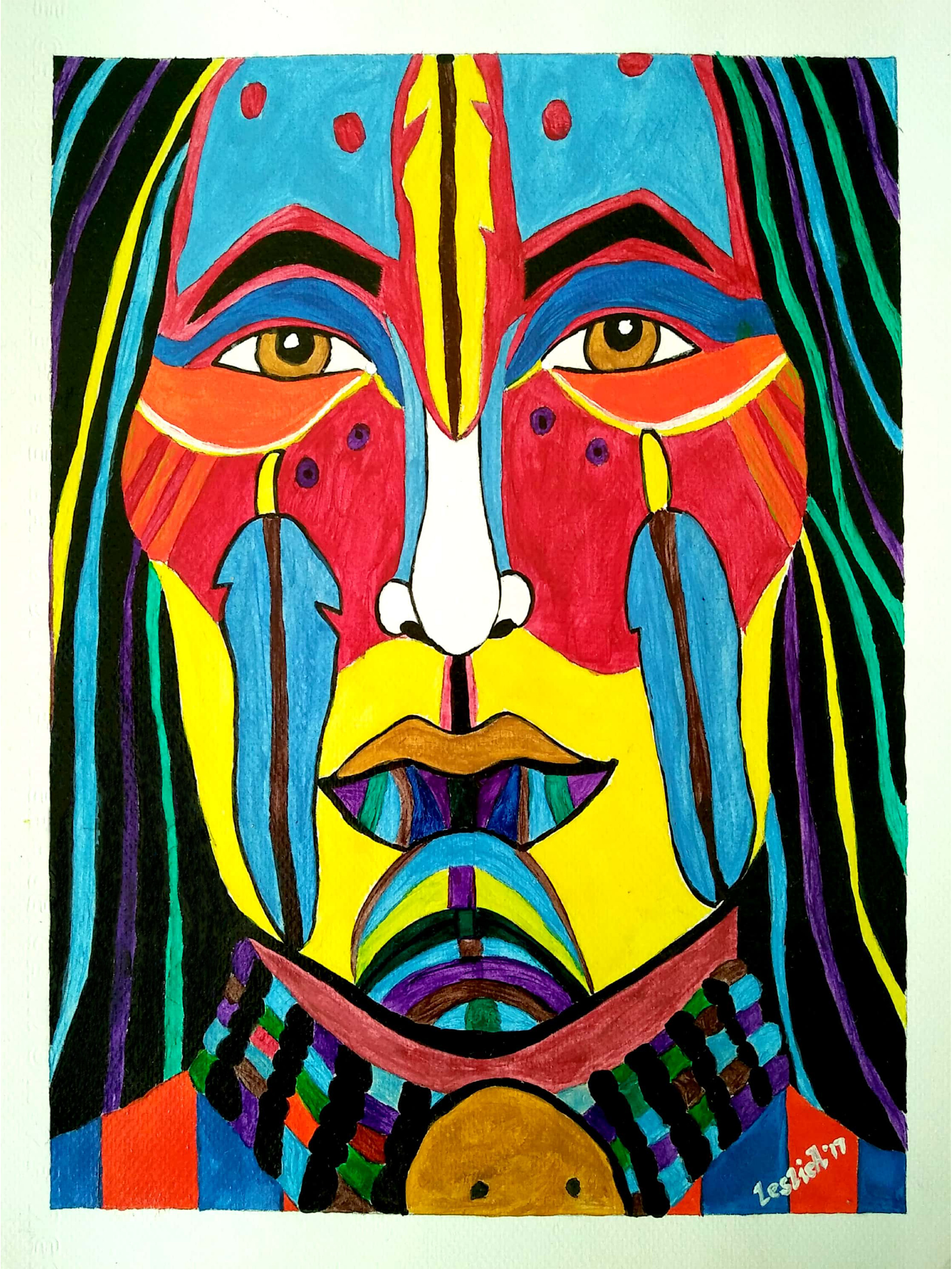 Leslie Abraham: 'indian chief', 2017 Acrylic Painting, Culture. Artist Description: Indian Chief, Art Print, Acrylic on Paper...