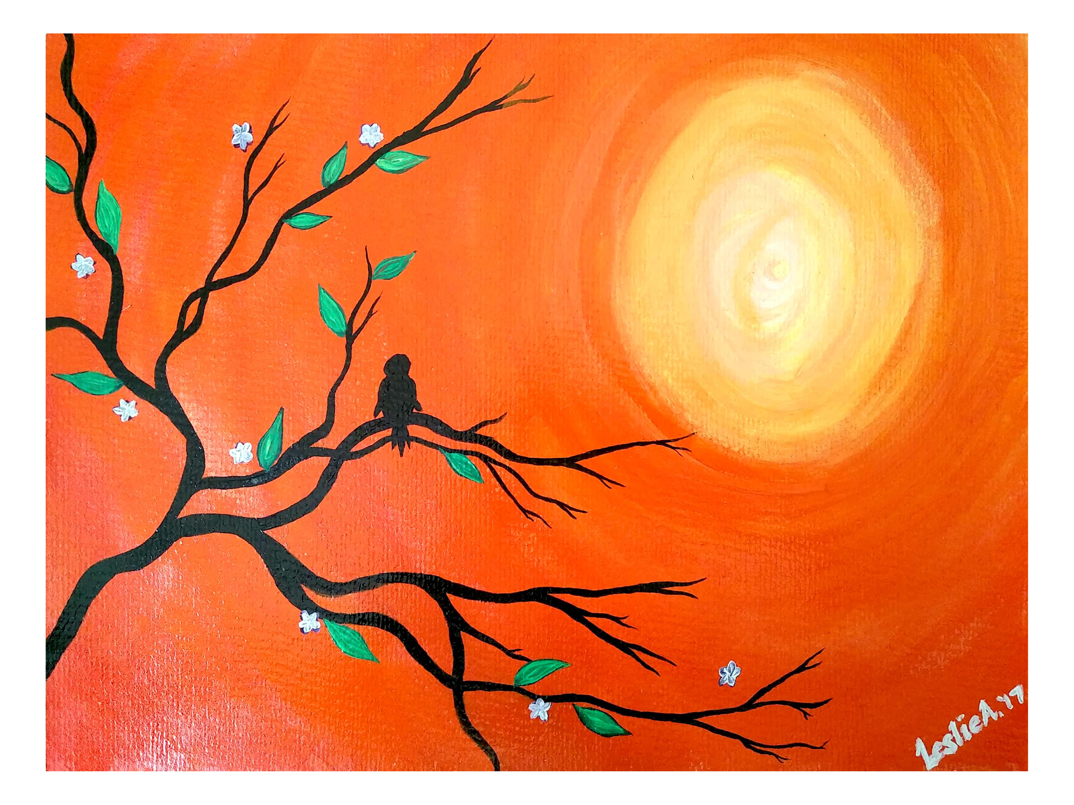 Leslie Abraham: 'the lonely bird', 2017 Acrylic Painting, Nature. Artist Description: Tree, Branches, Lonely Bird, Art Print, Acrylic on Paper...