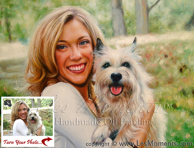 Moments Les  'Custom Pet  Dog Cat Portrait Oil Painting Based On Your Pet Photo 2 People Or Pet', created in 2007, Original Painting Oil.
