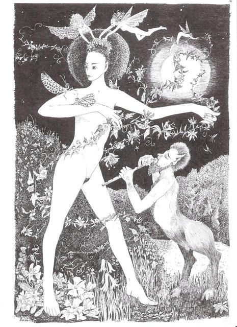 Annie Dachinger  'Flora Dancing With Faun', created in 2010, Original Drawing Pen.