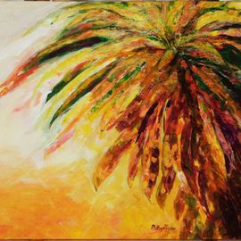 Patsy Mair: 'Flair of the Croton', 2005 Acrylic Painting, Seascape. Artist Description: Exploding in a riot of colour the Croton displays its spiral coronets with tropical dash and daring in the blaze of sunlight. ...