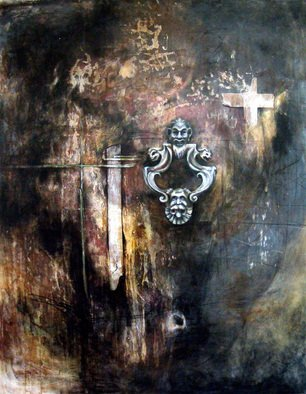 Leyla Munteanu: 'The door knocker', 2007 Mixed Media, Representational.  Acrylic and charcoal on paper. ...