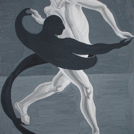 Lia Chechelashvili Artwork Dancing with shadow, 1993 Gouache Drawing, Dance