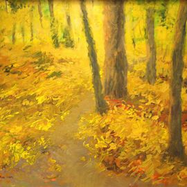 Lea Liblik Artwork Golden, 2014 Acrylic Painting, Landscape