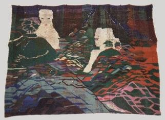 Libuse Mikova Academic Painter: 'Dream', 1992 Tapestry Art, Figurative. Artist Description: The Dream is about the desire of woman, who worked as the conservator of chantier in medieval site in L abbeay du Moncel, Pontpoint, France, 1990.Materialpure and synthetic wool, cotton, jute, golden string.Contacy121. Westfields, St. Albans, Herts, AL34JR, England, UKTel004401727864257...