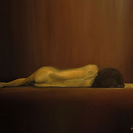 Liesel Du Plessis: 'Nude', 2012 Oil Painting, Nudes. Artist Description:   Hand Nude Contemporary Human        ...
