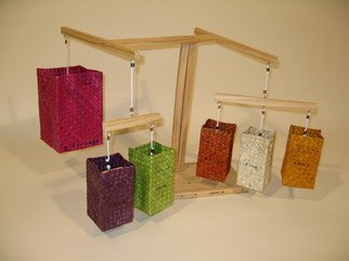 Gregory Liffick: 'gift bags', 2005 Mixed Media, Fashion.  Ink on wood, woven fiber and string. ...