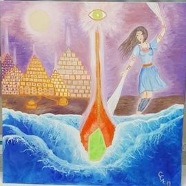 Cucu Corina: 'the return of atlantis', 2019 Oil Painting, New Age. Artist Description: Intuitive paint. ...