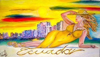Edward  Lighthouse Artwork lady in yellow, 2017 Oil Painting, Holidays
