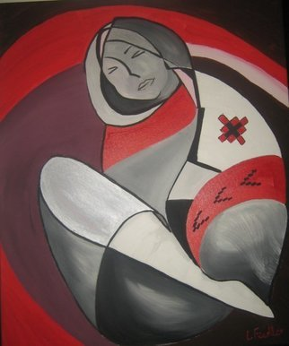 Ligia-emilia Fiedler: 'Peasant Woman Resting', 2009 Acrylic Painting, Abstract Figurative. Abstract Romanian Peasant Woman Resting Acryl Painting...