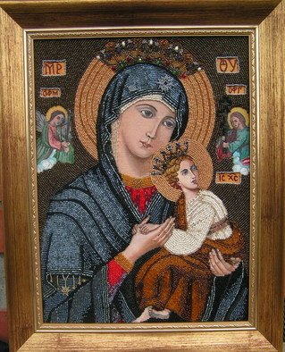 Rac Lila: 'Our Lady of Perpetual Help Icon', 2009 Beads, Christian. Artist Description:   Our Lady of Perpetual Help ( or of Succour) or Our Mother of Perpetual Help is a title given to the Blessed Virgin Mary, associated with a Byzantine icon of the same name, said to be 13th or 14th century, but perhaps 15th century. The icon has been in ...