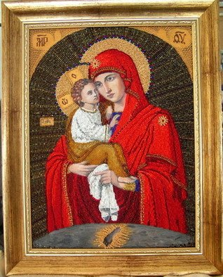 Rac Lila: 'Theotokos of Pochayiv', 2009 Beads, Christian. Artist Description:  Theotokos of Pochayiv ( Ukrainian: DYD3/4N++DdegN--D2N? NOEDoDdeg N-DoD3/4D1/2Ddeg DYNEURDuN? D2N? N,D3/4N-- D'D3/4D3D3/4NEURD3/4D'D,N+N-) is an Eastern Orthodox icon of the Virgin Mary, painted in a late Byzantine style, of the Eleusa iconographic type.It has been in the Pochayiv Lavra ( monastery) , in Ternopil oblast, Ukraine, since 1597, when it was given by a wealthy widow Anna or ...