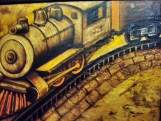 Trains Oil Painting by Liliana Neret Title: 374, created in 2009