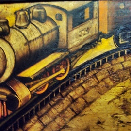 Liliana Neret Artwork 374, 2009 Oil Painting, Trains