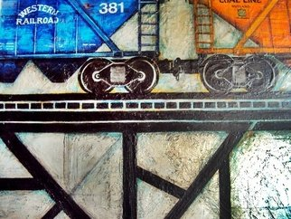 Trains Oil Painting by Liliana Neret Title: 381, created in 2009