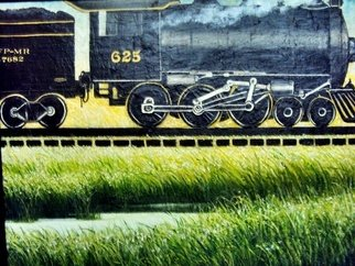 Trains Oil Painting by Liliana Neret Title: Over on Slver Pond, created in 2009